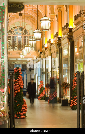 Shops in The Royal Arcade W1 at Christmas time London United Kingdom - Stock Photo