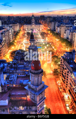"National Congress and ""Two Congress square"" garden. Aerial view. Buenos Aires, Argentina, South America. - Stock Photo"