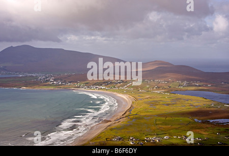 Keem Bay and Keel Beach on Achill Island, Republic of Ireland - Stock Photo