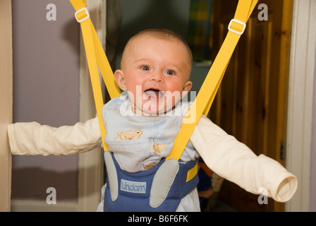 ... Happy Laughing Baby Boy Joshua Kailas Hudson Playing In Baby Bouncer  Hanging In Doorway   Stock