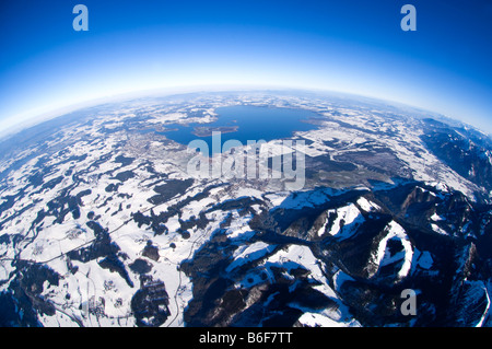 Aerial photo of Lake Chiemsee, Bavaria, Germany, Europe - Stock Photo