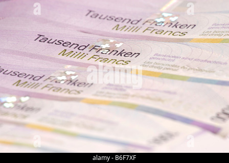 Thousand Franc notes, Swiss banknotes, detail - Stock Photo