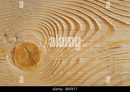 Wooden plank, detail showing a knot, grain and plane marks - Stock Photo
