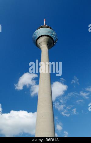 View up the Rheinturm or Rhine Tower, the tallest building in Duesseldorf, North Rhine-Westphalia, Germany, Europe - Stock Photo