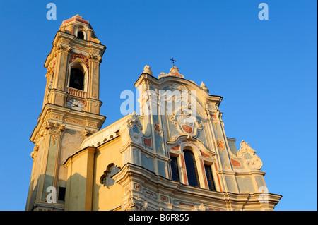 Parish church of San Giovanni Battista in Cervo, Riviera dei Fiori, Liguria, Italy, Europe - Stock Photo