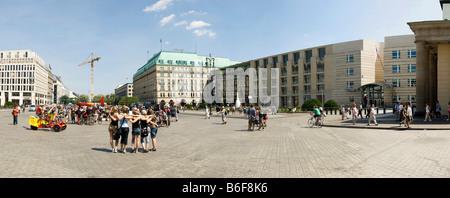 Panoramic view of tourists posing on the Pariser Platz Square, Hotel Adlon, Akademie der Kuenste or Art Academy, - Stock Photo