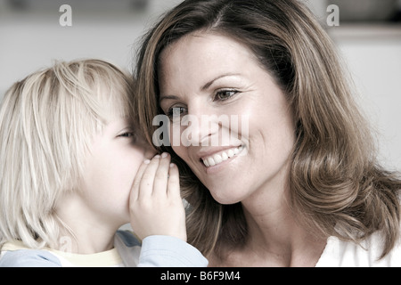 Mother and son laughing - Stock Photo