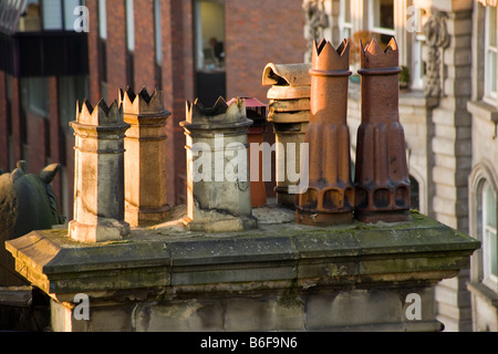 Old chimney pots in Newcastle Upon Tyne - Stock Photo