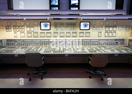 Control room of a decommissioned electric power station recreated in an exhibition hall at DASA, Deutsche Arbeitsschutzausstell - Stock Photo