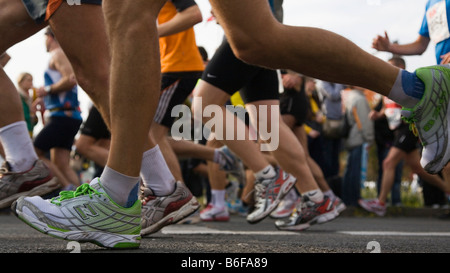 Detailed view of the legs and feet of the runners of the Marathon 2008, Berlin, Germany, Europe - Stock Photo