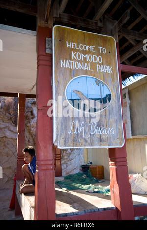 Entrance, Komodo National Park, UNESCO World Heritage Site, Komodo, Indonesia, Southeast Asia - Stock Photo