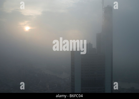 Frankfurt skyline with bank buildings in the fog, Frankfurt, Germany, Europe - Stock Photo