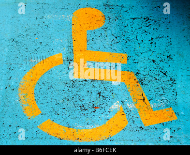 Sign for disabled parking, Newton, New Jersey, USA - Stock Photo