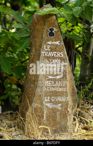 Sign post or guide post on the Sentier des Lauze, Saint Melany, Ardeche, Rhone Alps, France, Europe - Stock Photo