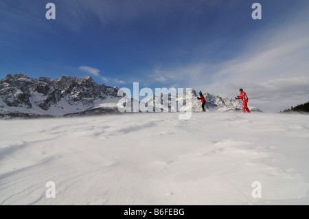 Nordic or cross-country skiers on the Alpe Nemes Alps, High Puster Valley or High Puster Valley or Alto Pusteria, - Stock Photo