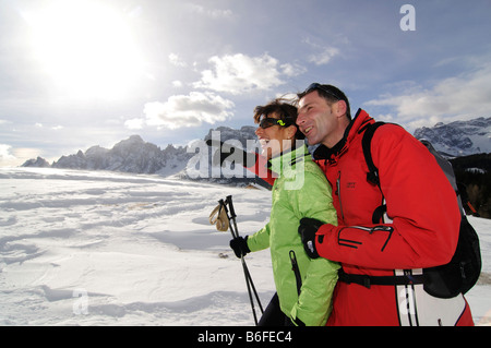 Hikers on the Alpe Nemes Alps in the High Puster Valley or Alto Pusteria, Bolzano-Bozen, Italy, Europe - Stock Photo