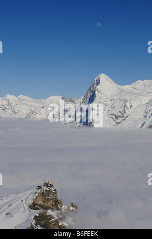 Panoramic view from Mt Schilthorn, Piz Gloria over the Birg summit station on the Eiger with north face, Lauterbrunnen, - Stock Photo
