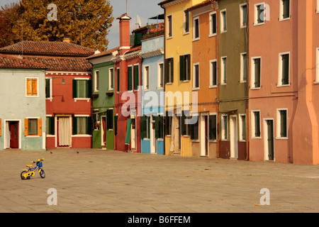 Island of Burano in the Venetian Lagoon, renowned for its colorfully painted houses, Veneto, Italy, Europe - Stock Photo