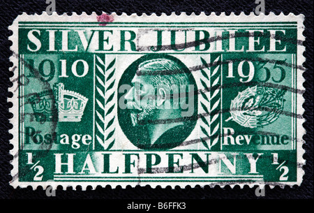Silver Jubilee (1910-1935) King George V of the UK (1910-1936), postage stamp, UK - Stock Photo