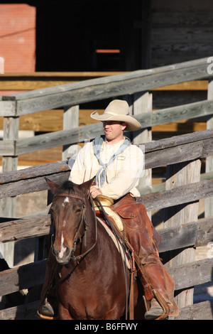 A cowboy at the Stockyards in Fort Worth Texas National Historic District Exchange Ave Stockyards Station - Stock Photo