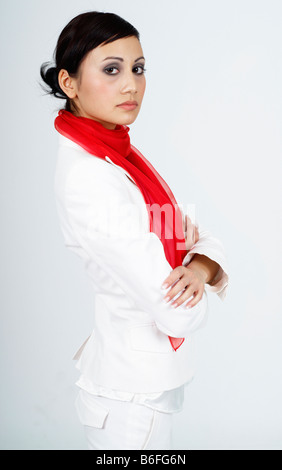 Young professional business woman looking serious - Stock Photo