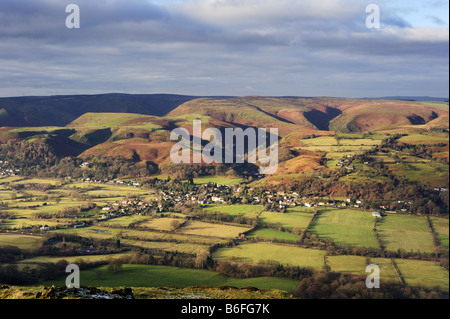 View of the village of All Stretton and The Long Mynd hills from Caer Caradoc, Shropshire, UK - Stock Photo
