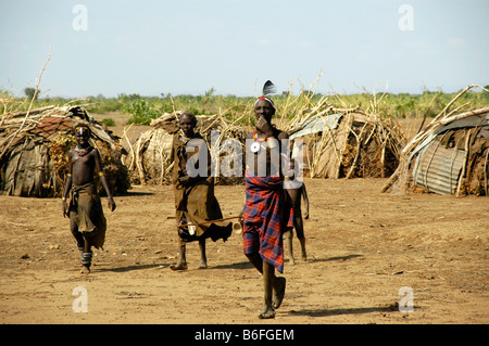 Chieftain with delegation, Omo River, Dashenesh people, Ethiopia, Africa - Stock Photo