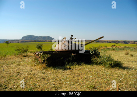 War, rusted old Russian tank lying in a field near Aksum, Ethiopia, Africa - Stock Photo