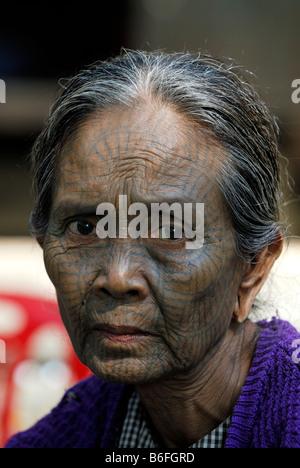 Tattooed woman, so called spider women, Mrauk-U, Burma, also called Myanmar, Southeast Asia - Stock Photo