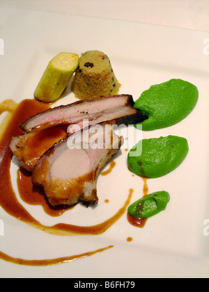 French meal with pork meat - Stock Photo