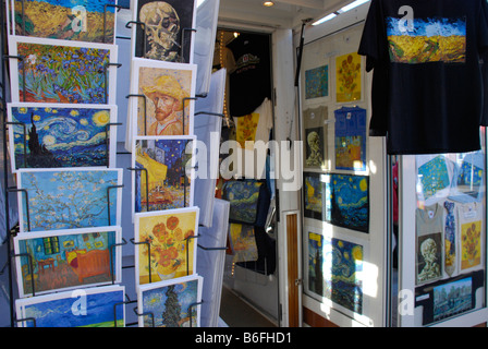 Postcards and art prints on racks, souvenirs at the Van Gogh Museum, Amsterdam, Netherlands - Stock Photo