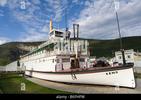 Historic paddle wheel steamer S.S. Keno, Dawson City, Yukon Territory, Canada, North America - Stock Photo