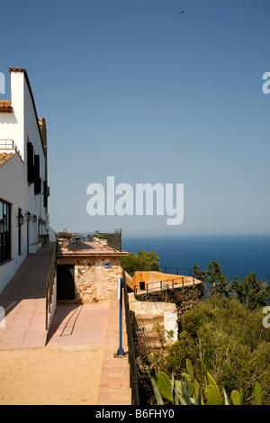View onto the Mediterranean Sea at Llafranc, Costa Brava, Catalonia, Spain, Europe - Stock Photo