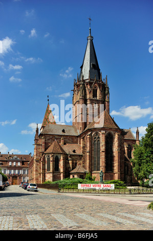 Church of St. Peter and Paul, Abbatiale Saints Pierre et Paul, Wissembourg, Nordvogesen Nature Reserve, Vogesen, - Stock Photo