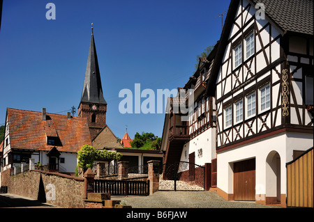 Half timbered buildings and church tower, Doerrenbach, Naturpark Pfaelzerwald Nature Park, Rhineland-Palatinate, - Stock Photo