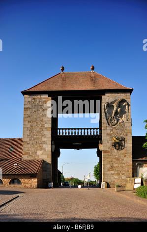 Deutsches Weintor or German Wine Gate, Schweigen-Rechtenbach, Naturpark Pfaelzerwald Nature Park, Rhineland-Palatinate, - Stock Photo
