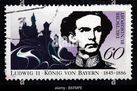 Ludwig Louis II, King of Bavaria (1864-1886), postage stamp, Germany, 1986 - Stock Photo