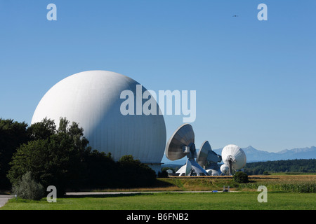 Radome, radar dome, Raisting radar dome, Upper Bavaria, Germany, Europe - Stock Photo