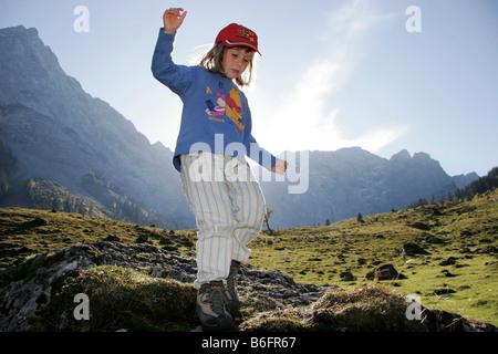 Mountain hiking child, girl, Karwendel Mountains, Alps, Austria, Europe - Stock Photo