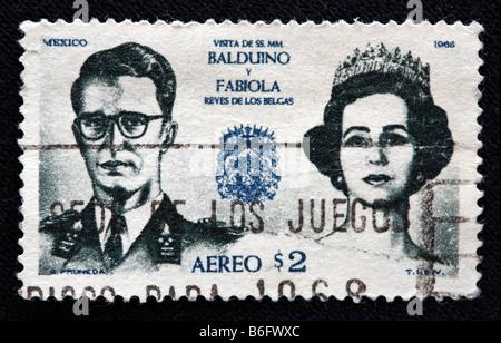 King Baudouin I (Boudewijn) of Belgium with his wife Queen Fabiola (Fabiola de Mora y Aragon), postage stamp, Mexico, 1966