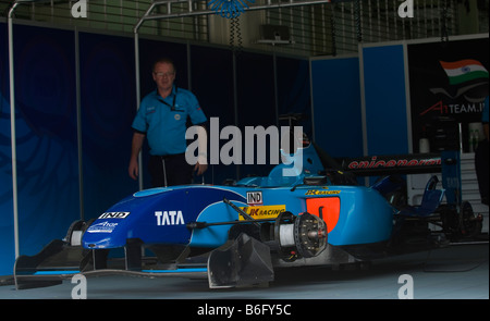 A1 Team India pit crew inspects a car at A1GP World Cup of Motorsport in Sepang Malaysia - Stock Photo