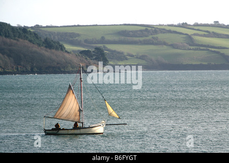 Oyster fishermen in Falmouth working boats sailing on the Carrick Roads Cornwall in Winter - Stock Photo