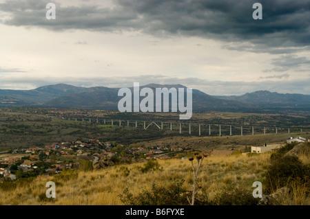 Bridge of AVE near tunel of Guadarrama, Soto del Real, Miraflores de la Sierra, Madrid, Spain, España, UE - Stock Photo