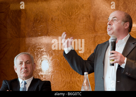 Former Israeli PM Binyamin Netanyahu and Nathan Sharansky during Adelson Institute's Dec. 2008 Counterinsurgency - Stock Photo