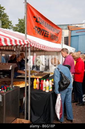 Stall booth at Kalaryssäys Kalaryssaeys market fair in Kuopio City Finland - Stock Photo