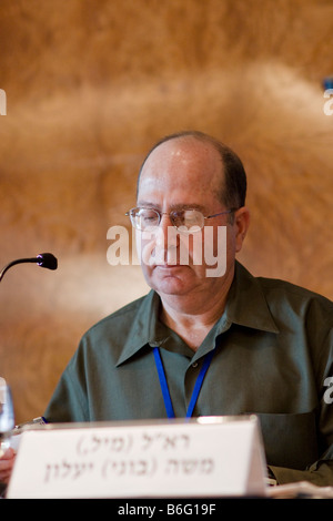 Former Israeli Chief-of-Staff lt. General Moshe ('Bogi') Yaalon delivers a lecture during Adelson Institute Dec. - Stock Photo