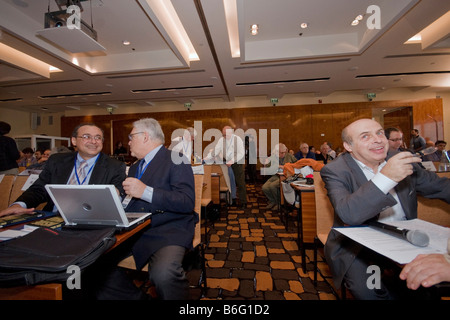 Happy moment: Dr. Tawfik Hamid,Prof. Edward Luttwak and Nathan Sharansky during Adelson Institute's Counterinsurgency - Stock Photo