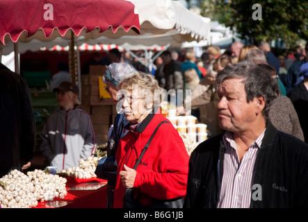 People at Kalaryssäys Kalaryssaeys market fair in Kuopio City Finland - Stock Photo