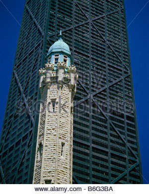The Water Tower historic site and the John Hancock Center building in Chicago Illinois USA - Stock Photo