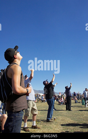 Spectators Look Skyward Warbirds Over Wanaka Otago South Island New Zealand - Stock Photo